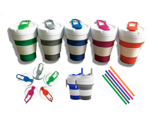 GI0012 Collapsible silicone cup with carabiner and silicone straw. 1